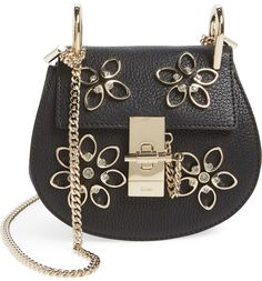 Main Image - Chloé 'Nano Drew - Flowers' Crystal Embellished Leather Crossbody Bag