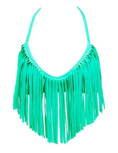 Long Fringe Trim Bikini Top: Charlotte Russe love the color.