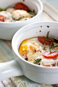 Savory baked eggs for breakfast.