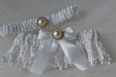 Wedding Garter Set White Satin and Venise Lace by ElegantGarters, $32.00