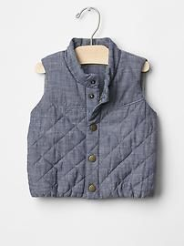 Chambray quilted vest Product Image