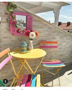 Apartment Balcony Decorating, Interior Decorating, Balcony Design, Outdoor Furniture Sets, Outdoor Decor, Terrace Garden, Shabby Cottage, Outdoor Living, Sweet Home