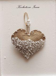 Burlap lace heart ornaments Home decor ornaments by ByKochetova
