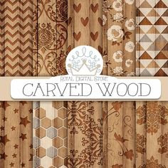 "Wood digital paper: ""CARVED WOOD"" with wood background, wood scrapbook paper, wood textures. wood patterns for scrapbooking, cards #wood #planner #romantic #wedding #digitalpaper #scrapbookpaper"