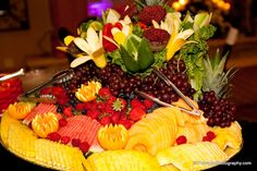Our talented staff can create a wide variety of food displays for your cocktail hour and wedding reception. Contact us to learn more! www.VersaillesCaterers.com. Photo courtesy of PravadaPhotography.com. #wedding #bride #groom #marriage #VersaillesBallroom #njweddings #njbanquethall #tomsriver #nj #newjersey #weddingtheme #reception #weddingreception