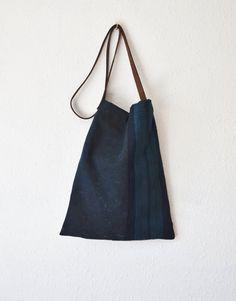 Crossbody bag indigo dark blue day bags natural Japanese fabric leather strap minimalist unisex vintage linen beautiful handbag manbag pink