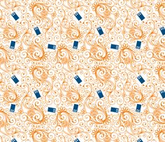 Blue phone boxes on orange swirl fabric by risarocksit on Spoonflower - custom fabric