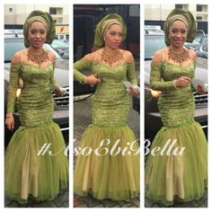 Olive green Nigerian wedding bride inspiration gele and dress Outfit from makeup by Nigerian Bride, Nigerian Weddings, African Weddings, Ghanaian Fashion, African Fashion, Nigerian Fashion, Ankara Fashion, African Dresses For Women, African Women