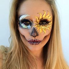 Skull makeup beautiful skeleton makeup art by vanessa davis Fx Makeup, Party Makeup, Makeup Brushes, Makeup Tools, Face Makeup Art, Disney Eye Makeup, Makeup Meme, Mac Brushes, Revlon Makeup