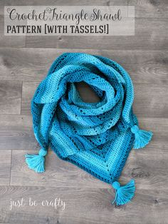 Crochet Triangle Shawl Pattern free crochet pattern in Super Saver Ombre by Just b Crafty.