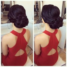 Lovely Aylin❤️ Thanks for coming sweety💋 Prom Hair Updo, Hairdo Wedding, Bridal Hair Updo, Elegant Wedding Hair, Wedding Hair And Makeup, Updo Hairstyle, Hair Makeup, Wedding Dress, Quince Hairstyles