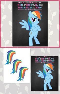 Printable My Little Pony Chalkboard Pin the Tail on Rainbow Dash by ApothecaryTables!