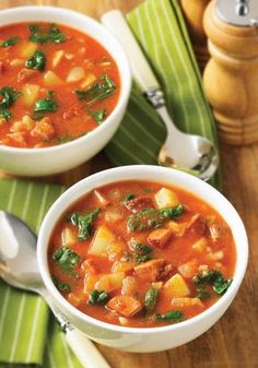 The first few spoonfuls of this meaty soup, enriched with potatoes, teff and kale, will have you dreaming of the warm sunshine of Spain and Portugal #soup #healthy #comfortfood #lunch #dinner Kale Soup Recipes, Dinner Recipes, Chorizo Recipes, Salad Recipes, Dinner Ideas, Cooking Recipes, Healthy Recipes, Skinny Recipes, Diabetic Recipes