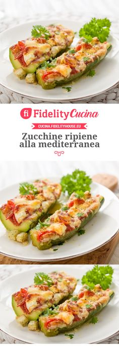 Zucchine ripiene alla mediterranea Veggie World, Cooking Recipes, Healthy Recipes, Light Recipes, Creative Food, I Love Food, Summer Recipes, Easy Meals, Food And Drink