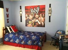 Evan's WWE bedroom! :) #wwe #wrestling #johncena (More pics of his room in my album)