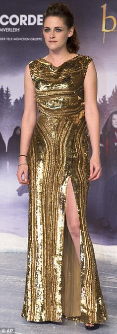 Golden girl: The actress slipped into a stunning Elie Saab dress for the occasion