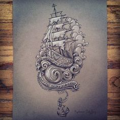 """This warship is sinking and I still believe in anchors""-  Drawing based on Listener's song ""Wooden Heart""  See more art:  Facebook.com/DreamsCreateReality"