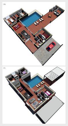 """Fabricada por Zaero Home Design.  Vivienda de 300 m2 en dos plantas. La PB cuenta con salón, comedor independiente, cocina, aseo de cortesía, cuarto de lavadora, habitación en suite, despacho con baño propio y un dormitorio. En la P1, cuenta con un dormitorio principal suite, más dos habitaciones, un baño y sala de estar. En exterior, cuenta con """"casa de la piscina"""" 25 m2 con trastero, dos aseos con plato de ducha y vestuario. Garage exterior.  #planoscasa, #casaprefabricada #casacontainer Solar, Projects To Try, House Template, Passive House, Wood Steel"""