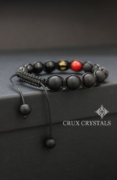 RED SPOT Lava Rock & Black Onyx Mens Bracelet by CruxCrystals