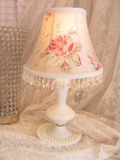 Small lamp shades in french antique fabric belle maison en rouge vintage hobnail lamp with pink shade shabby sea side rose cottage moda fabric aloadofball Gallery