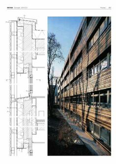 Detail Architecture, Sketch Architecture, Wood Facade, Construction Drawings, Architectural Section, Building Systems, Detailed Drawings, Facade Design, Technical Drawing