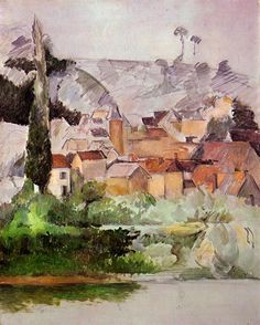 Medan Chateau and Village - Paul Cezanne - watercolor