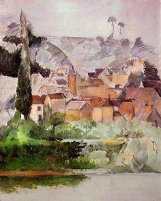 Medan Chateau and Village - Paul Cezanne - watercolor
