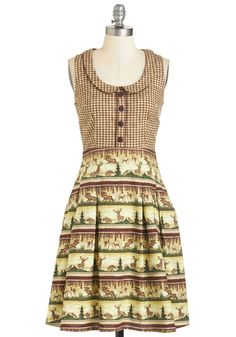 Go All Outdoors Dress Size small by Retrolicious Sold on ModCloth as the Go All Outdoors Dress. Very little stretch. Flaunt a look loved by fauna and fellow humans alike in this cotton dress! Retro Vintage Dresses, Vintage Style Outfits, Vintage Fashion, Cute Casual Dresses, Cute Outfits, Dresses For Work, Cute Plus Size Clothes, Plus Size Outfits, Mod Dress