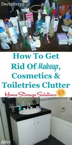 How to get rid of makeup, cosmetics, toiletries and similar beauty and personal care products in your home that you're ready to declutter, plus tips for what to do with the stuff you've decided to remove from your home on Home Storage Solutions 101 Dresser Top Organization, Organization Hacks, Organizing Tips, Bathroom Organization, Organising, Bathroom Ideas, Cosmetics And Toiletries, Makeup Cosmetics, Bathroom Storage Solutions