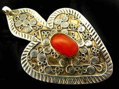 Kazakh Silver Red Agate Asyk Heart  Pendant