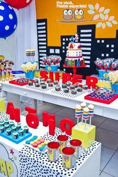 Superhero Birthday Party Theme Boys Girls Kids Red Blue Yellow