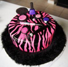 Pink Zebra cake w/makeup