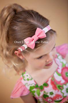 Pink Gold White Glitter Bow Headband  Trendy by OnceUponATimeTuTus