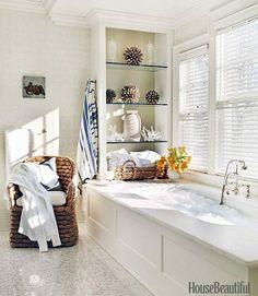 Lee Ann Thornton, bathroom, March House Beautiful, photo by Thomas Loof, Ralph Lauren Joshua Tree chair, Stark Princess Najwa grasscloth.