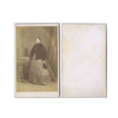 CDV Photograph Victorian Lady Standing with Hat Carte de Visite