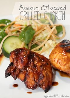 big red clifford: asian glazed grilled chicken & asian noodle salad