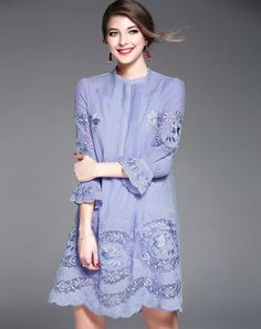 #VIPme Azure Floral Embroidery Vintage Shift Mini Dress ❤️ Get more outfit ideas and style inspiration from fashion designers at VIPme.com.
