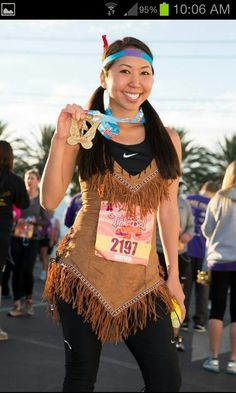 pocahontas running costume - Google Search Disney Princess Challenge, Disney World Princess, Disney Princess Costumes, Run Disney Costumes, Running Costumes, Running Outfits, Disney 5k, Disney Races, Disney Running