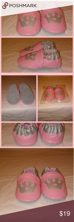 "New Baby Girls Pink/Silver w/Crown Shoes **PLEASE NOTE: FROM WHAT MY CUSTOMERS SAY, THESE BABY SHOES RUN BIG! PLEASE, CHOOSE THE SIZE BY SOLE LENGTH..  * You will get one pair of brand new baby girls pink w/silver crown slip on crib shoes.  * Though these baby shoes smell like genuine leather, I don't think they are.. (My opinion)..  * Size is 0-6 months.. (Please measure baby's sole before ordering)..  * Sole Measurements 4 7/8"" L x 2 1/2"" W  Thank you, for stopping by. :-) Shoes Moccasins"