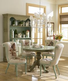 "Pedestal Farmhouse Table - Handcrafted from mahogany. - Shown in antique cream heavy distressed finish on the base & duck egg blue heavy distressed finish on the top. - 2 Sizes Available: 48"" Round Item # BR-98801 60"" Round Item # BR-09801 - Matching dining chairs available. - 50+ color & art options."