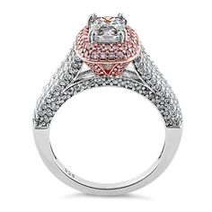 Two Tone Emerald & Round Cut CZ Ring