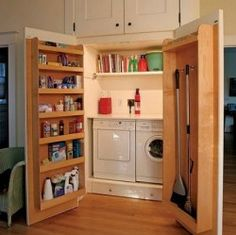 Using the insides of these doors for cleaning supply storage is ingenious. I would put a hidden laundry room, not just a closet.