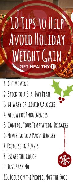 Check out these 10 Tips to Help Avoid Holiday Weight Gain! The holidays can totally throw off your healthy lifestyle, so we have some advice about how to stay on track!