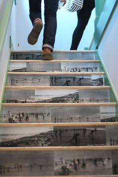Modpodged photocopies of B photos put in place on staircase