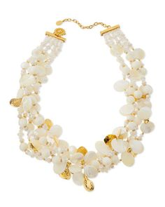 Chunky Mother-of-Pearl & Crystal Multi-Strand Necklace by Jose & Maria Barrera at Neiman Marcus.