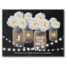 RUSTIC BURLAP MASON JAR ROSES SAVE THE DATE POSTCARD #SAVETHEDATE #WEDDINGCARDS #ANNOUNCEMENT #ROSES #STRINGLIGHTS #COUNTRYWEDDING #RUSTICWEDDING #STYLISHWEDDING #MONOGRAM #BURLAP #MASONJAMJARS #CHALKBOARDWEDDING