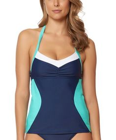 9dc178e7ac6e7 Look at this #zulilyfind! Navy & Teal Block Party Halter Tankini Top #