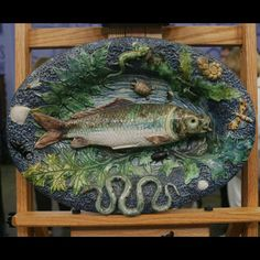 19th-Century Palissyware Fish Platter