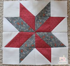 """Piece N Quilt: Star Quilt {LeMoyne Star} From your background fabric you will cut 4- 3 1/2""""x3 1/2"""" squares. From your background print, red print and blue print you will cut from each 4 - 3 7/8""""x3 7/8"""" squares."""