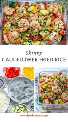 Clean Eating Shrimp Cauliflower Fried Rice for Meal Prep! | Clean Food Crush
